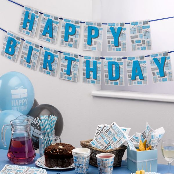 Happy Birthday Blue & Grey Bunting